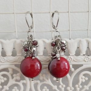 Jewelry - Red and silver statement earrings